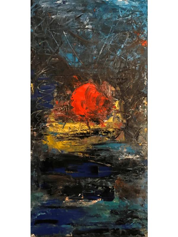 Arbre rouge sur pont de Seine